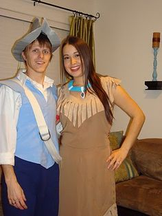 Pocahontas & John Smith for Halloween....bahaha Jake would kill me if I tried to make him wear that hat!!
