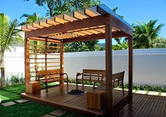 The wooden pergola is a good solution to add beauty to your garden. If you are not ready to spend thousands of dollars for building a cozy pergola then you may Diy Pergola, Building A Pergola, Small Pergola, Pergola Canopy, Pergola Attached To House, Deck With Pergola, Cheap Pergola, Wooden Pergola, Outdoor Pergola