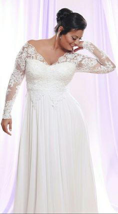 Timeless plus size wedding dress with long lace sleeves and chiffon flowy skirt! Tara. Studio Levana