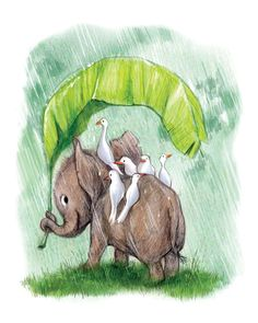 Rainy Elephant 8x10 print on felted paper