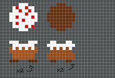 3D Perler minecraft cake pattern by ~paranoid-potato on deviantART