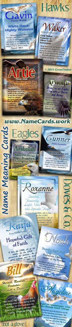 Name Meaning Cards with Eagles, Doves, Hawks and a Rooster! Come Personalize for just $3.99
