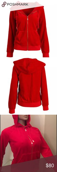 "Juicy Couture Women's Red plush Velour Hoodie SM Juicy Couture Black Label Women's Red plush Velour Relaxed Hoodie S  Juicy Couture is an American contemporary casual wear and dress clothing brand based out of California.  Color: Astor Retail: $158.00, New with tags Material: 78% Cotton/22% Polyester Style Number: WTKT25269, sales final on PM. Know your size. Retail plastic! Tags, measurements laying flat across; shoulder to shoulder 18"", armpit to armpit (bust) 19"", length (top to bottom)…"