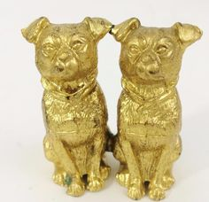 1930's Cast Metal Pug Twin Attached 2 Dog Gold Finish Figurine Jennings Vintage