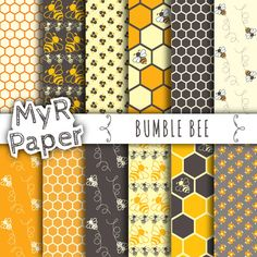 "Bee digital paper: ""BUMBLE BEE"" patterns pack & backgrounds with bees, honeycombs, honey bees and flowers in orange, yellow and gray"