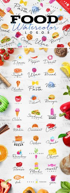 Food Watercolor Logos by Anna on @creativemarket