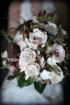White Floral Bridal Bouquet | Impressions Photography https://www.theknot.com/marketplace/impressions-photography-sioux-city-ia-870932 | Petal Pusher