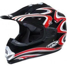 #Casco Motocros Helix Cannon BRW, Negro Rojo Blanco.
