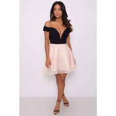 Rare Black And Pink Off The Shoulder Prom Dress (£20) ❤ liked on Polyvore featuring dresses, sweetheart neckline prom dress, sweetheart neckline dress, holiday party dresses, prom dresses and party dresses