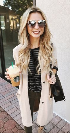 #fall #outfits women's beige jacket and black and white stripe dress #casualwinteroutfit