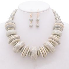 Emily Faux Stone Disc Statement Necklace and Earrings Set