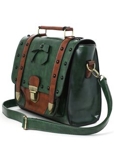 Studs Satchel Bag in Green - New Arrivals - Retro, Indie and Unique Fashion