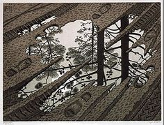 Puddle is a woodcut print by the Dutch artist M. C. Escher, first printed in February 1952.
