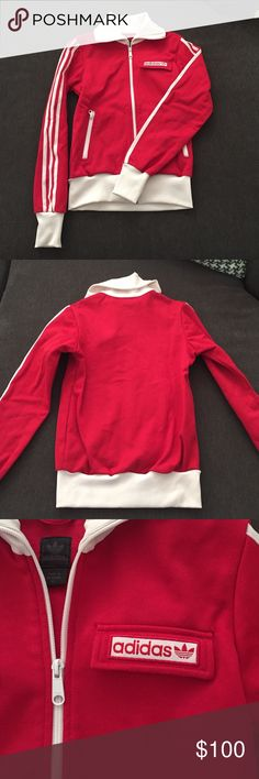 Adidas retro inspired red track jacket XS Great condition. Minor  discoloration where white cream d6a51930119ee