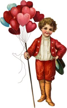 Victorian Valentine with boy holding bouquet of pink, ruby and blue heart-shaped balloons.