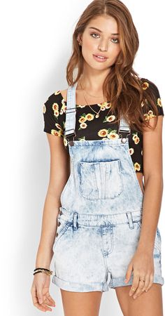 $24, Mineral Wash Overall Shorts by Forever 21. Sold by Forever 21. Click for more info: http://lookastic.com/women/shop_items/25435/redirect
