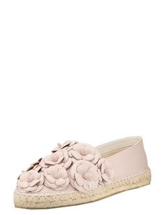 CHANEL Pink Camellia Leather Espadrilles