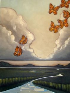 """Marsh Scene with Butterflies by Carin Vaugn, 18x24"""", oil on canvas, 3/4"""" deep sides 