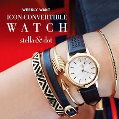 Weekly Want 10/12: They're finally here! Our new convertible watches are live today – complete with a custom perforated design, mother-of-pearl watch face, and interchangeable bezels so you can match your metal to your arm party. This is your must-have look of the season, ladies! www.stelladot.com/yasmineb