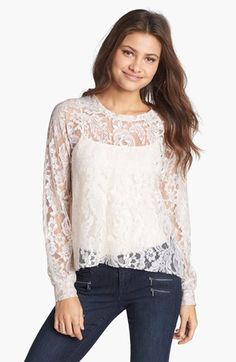 Lily White Lace Top (Juniors) available at #Nordstrom