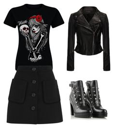 """""""Darkness Queen"""" by agaogludilara on Polyvore featuring Miu Miu, Diesel, women's clothing, women's fashion, women, female, woman, misses and juniors"""