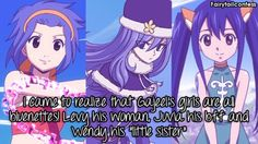 Gajeel must have a thing for girls with blue hair(」゚ロ゚)」