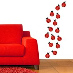 A parade of ladybugs...  Cute for a baby girl's room...