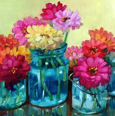 """Happy Zinnias"" original fine art by Libby Anderson"