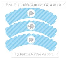 Free Baby Blue Diagonal Striped Baby Elephant Scalloped Cupcake Wrappers