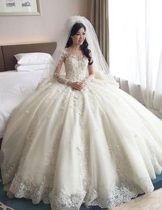 2016 Vintage Lace Wedding Dresses Long Sleeves Lace Applique Ball Gown Bridal Dresses Puffy Scoop Cathedral Train Wedding Gowns Online with $195.33/Piece on Hua_yi_zhang's Store | DHgate.com