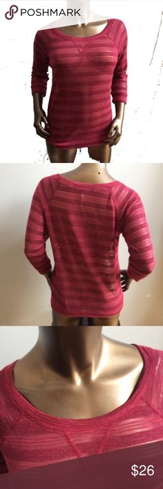 NEW Burgundy Sheer 3/4 Sleeve Sweater Crewneck Brand: Energie  Condition: Brand new with tags  Size: Junior's Small Available (all other sizes sold out)  Color: Burgundy (also available in other colors, see separate listings) Energie Sweaters Crew & Scoop Necks