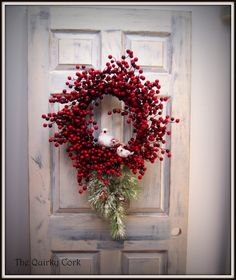 Christmas Wreath with Red Berries and birds by TheQuirkyCork. Elegant. Holiday Wreath.