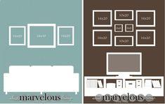 Inspirez-vous de schémas pour décorer votre intérieur avec des cadres photos. Vous pouvez en trouver ici.