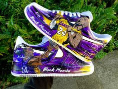 Custom Kobe Bryant You can choose 2 portraits on each shoe). They painting is only on the outer part of the shoe. Everything is hand painted. Kobe Bryant Shoes, Kobe Shoes, Lakers Kobe Bryant, Nike Fashion, Sneakers Fashion, Sneakers Nike, Custom Design Shoes, Custom Shoes, Jordan Shoes Girls