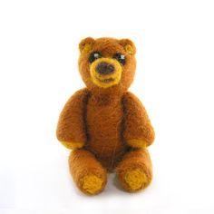 Bear Needle Felted Brown Bear Merino Wool Soft by RolyzTreasures, $20.00