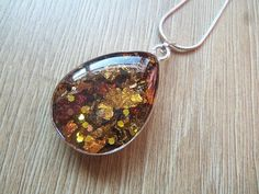 Autumn Necklace Leaf Pendant Gold Copper by ResinJewelsbyAlice