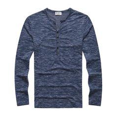 MSA Signature Henley Shirt new Tee Tops Long Sleeve Stylish Slim Fit T-shirt Button placket Casual men Outwears Popular Design Women's Henley, Henley Shirts, Long Sleeve Tops, Long Sleeve Shirts, Cheap T Shirts, Branded T Shirts, Men Casual, Casual Styles, Zara