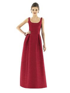 Long evening dress in red with scoop neckline & inverted skirt pleats for bridesmaids & maid of honor from Alfred Sung (Style: 565).