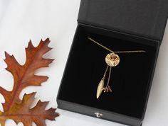 Phoenix necklace in 14kt gold filled and sapphire gemstones www.saltbijoux.com