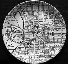 A dinner plate printed with a map of Christchurch city, by Crown Lynn. It was called the 'Down Town' series (pattern and was produced in Auckland for just three years, CLP also made sets featuring other New Zealand towns. Canterbury New Zealand, City Grid, New Zealand Art, Kiwiana, Cartography, Pottery, Crown, Black And White, Retro