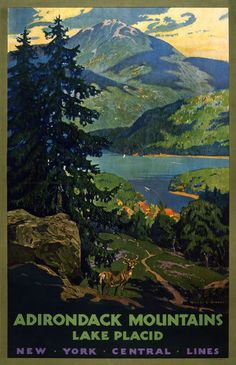 Adirondack Mountains, Lake Placid New York Central Lines. Adirondack Mountains poster: This vintage railroad travel poster shows a stag standing in the foreground of Lake Placid. Illustrated by Walter