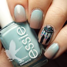 "We love these ombre Dreamcatcher nails! Colors are Essie ""Ladylike"" and ""Mint Candy Apple"" and Essie ""Play Date"" and OPI ""Fly"" for the beads. - sparrownails...x"