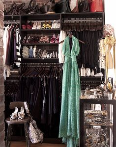 All black closet belonging to Padma from Top Chef
