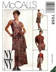 McCall's 7058 Artsy Jacket, Vest, Skirt, Pants & Belt 1994 Sewing Ideas, Sewing Patterns, Ny Ny, Ny Collection, Skirt Pants, 2000s, Stitches, High Low, Artsy