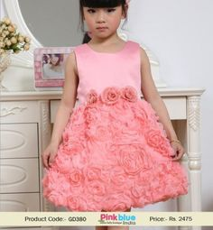 Baby Girl Casual Outfits - Baby 1st Birthday Dresses, Flower Girls Dress in Watermelon Red, Sleeve Floral Party Frock, Baby Clothing India, New Collection 2015, Shabby Chic, Daughter Wedding Dress for 2-6 yrs Old Little Princess