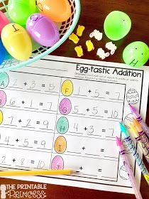 Have leftover plastic Easter eggs? Turn them into FUN and engaging math activities for your Subtraction Kindergarten, Kindergarten Freebies, Kindergarten Math Activities, Kindergarten Classroom, Kindergarten Addition, Teaching Math, Math Crafts, Spring Activities, Easter Activities
