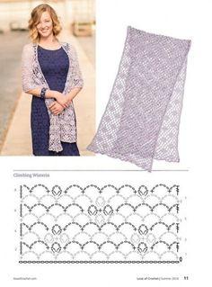 Crochet Shawl Love of Crochet Summer 2014 - 轻描淡写 - 轻描淡写 - Crochet Scarf Diagram, Filet Crochet, Crochet Stitches Patterns, Crochet Poncho, Crochet Scarves, Crochet Clothes, Stitch Patterns, Crochet Diy, Crochet Summer