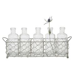 Creative Co-Op Casual Country 6 Piece Glass Bottle/Vase Set
