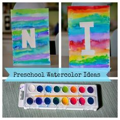 Simple Watercolor Monogrammed Art #Preschool #Homeschool
