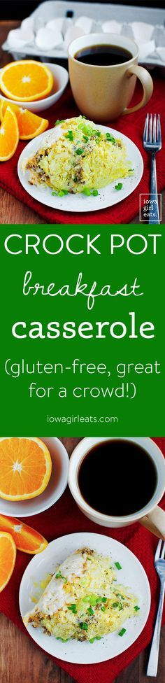 Crock Pot Breakfast Casserole is the perfect gluten-free breakfast for feeding a crowd. Hearty and so delicious! | iowagirleats.com